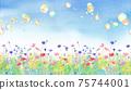 비눗 방울 구슬이 날아 다양한 꽃이 만발하는 봄의 들판 수채화 일러스트. 배너 배경. 75744001