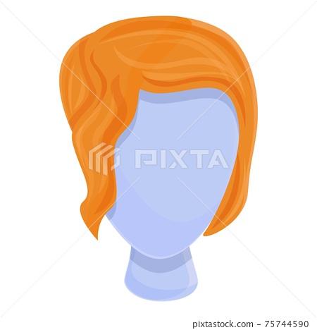 Artificial wig icon, cartoon style 75744590
