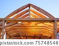modern construction with wooden details, the new building are built environmentally friendly 75748548