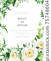 Trendy, greenery wedding floral vector invite, holiday invitation card. Light yellow garden roses flowers, tender smilax greenery leaves, vines, herbs, plants bouquet. Decorative frame, natural border 75748604