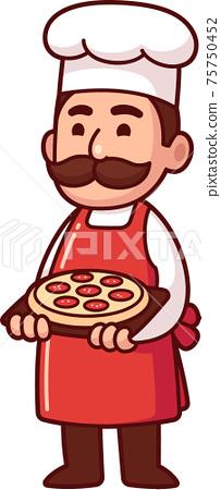 Cartoon Italian chef holding pizza 75750452
