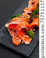 Smoked Salmon with peppercorns and dill close up 75751137
