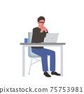 一個男人和一台計算機,手牽著手的插圖 75753981