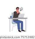 一個男人和一台計算機,手牽著一個困惑的表情的插圖 75753982