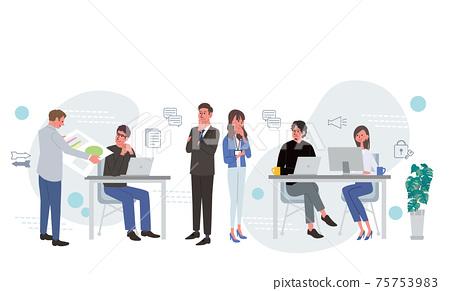 IT 커뮤니케이션 비즈니스 개념 일하는 사람들의 일러스트 75753983