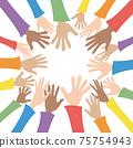 許多手圍成一圈。五顏六色的袖子,各種種族的人們的手臂。 75754943