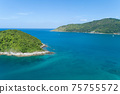 Amazing landscape nature scenery view of Beautiful tropical sea with Sea coast view in summer season image by Aerial view drone shot High angle view 75755572