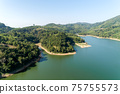 Aerial Drone shot bird eye view mountain lake with rainforest lake surrounded by mountains and reflection in the water 75755573
