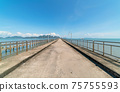 The long bridge in to the sea with beautiful nature view at phang nga Thailand Concept travel background and tour in summer season.travel  website background 75755593
