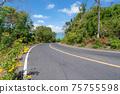 The asphalt road around the phuket island in Summer season beautiful blue sky background at Phuket Thailand 75755598