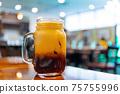Close up shot of cold Thai Tea 75755996