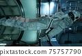 The astronaut flies in zero gravity modulo his spacecraft. 3D Rendering. 75757790