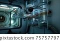 The astronaut flies in zero gravity modulo his spacecraft. 3D Rendering. 75757797