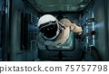 An astronaut in zero gravity checks the module of his spaceship. 3D Rendering. 75757798