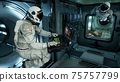 An astronaut in a spaceship is watching through a porthole for an alien, unexplored planet. 3D Rendering. 75757799