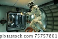 Space drama on a spaceship after the conflict of astronauts. 3D Rendering. 75757801