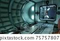 The camera flies through the spaceship module. 3D Rendering. 75757807