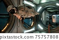 An astronaut in zero gravity checks the module of his spaceship. 3D Rendering. 75757808