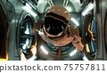 Somewhere in distant space, an astronaut hovers inside his spaceship. 3D Rendering. 75757811
