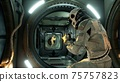 Space drama on a spaceship after the conflict of astronauts. 3D Rendering. 75757823