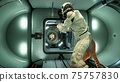 The astronauts had a fight and made a battlefield in outer space. 3D Rendering. 75757830