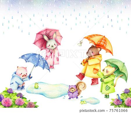 動物在雨中撐著傘的風景手繪彩色鉛筆 75761066