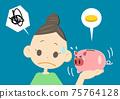 哭泣的存錢罐和一個有麻煩的臉的女人 75764128