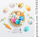 Happy easter day easter eggs colorful different and patterns texture  on egg nest with lilies and daisies flower. Vector illustrations. 75764483