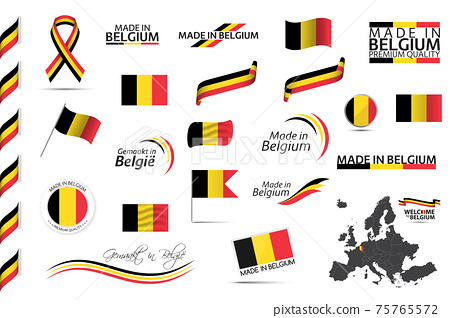 Big vector set of Belgian ribbons, symbols, icons and flags. Made in Belgium 75765572