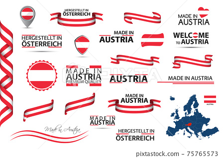 Big vector set of Austrian ribbons, symbols, icons and flags. Made in Austria 75765573
