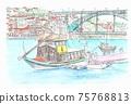 世界遺產天際線 - 葡萄牙波爾圖葡萄酒船和埃菲爾橋 75768813
