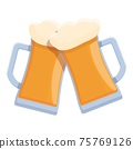Beer cheers icon, cartoon style 75769126