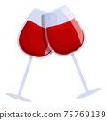 Wine cheers icon, cartoon style 75769139