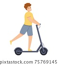 Holiday boy electric scooter icon, cartoon style 75769145