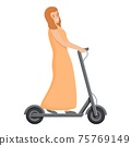 Girl dress on electric scooter icon, cartoon style 75769149