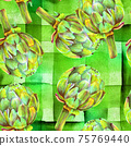 A seamless pattern of watercolor artichokes on a green striped background 75769440