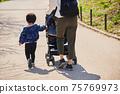 父母和孩子與他們的孩子在嬰兒推車在公園裡散步 75769973