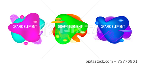 Set of abstract flowing liquid geometric shapes in vivid bright color gradient. Fluid design elements for minimal banner, logo, flyer or presentation. Futuristic trendy dynamic Eps10 vector. 75770901