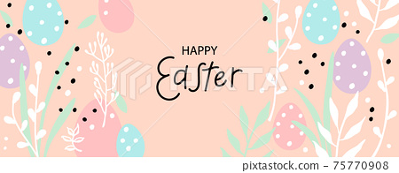 Happy Easter greeting card. Trendy design with typography, hand drawn easter eggs, twigs, leaves and dots in pastel colors. Modern flat minimal style. Horizontal poster, header or banner for website 75770908