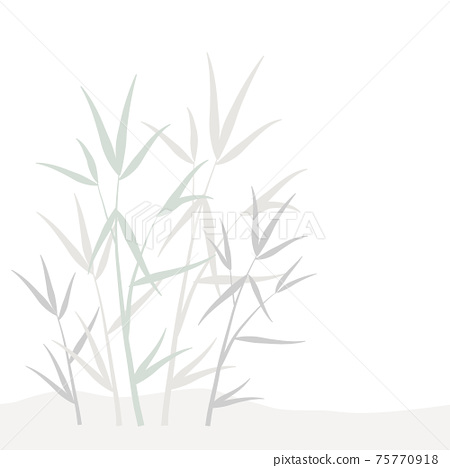 Design element with ornamental organic floral pattern of gray, green and biege pastel bamboo leaves and sprouts, branches in Japanese style isolated white background. Vector eps 10 template 75770918