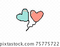 Simple flat style icon of beautiful two Pixelated balloons in the form of hearts for the feast of love on Valentine s Day or March 8th. illustration. 75775722