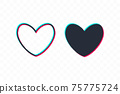 Pixelated Heart line icon, sign, symbol, logo. Tricolor sign 75775724