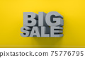 Big sale lettering colors yellow and gray , Color of the year of 2021 Illuminating , Ultimate Grey 3d rendering 75776795