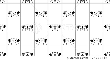 bear seamless pattern polar vector eatting food repeat wallpaper teddy scarf isolated checked cartoon illustration tile background illustration doodle design 75777716