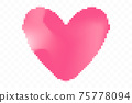 Pixel art heart isolated on transparent background 75778094