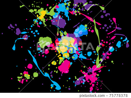 Abstract vector splatter color on black color background design. illustration vector design. 75778378