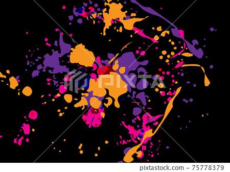 Abstract vector splatter color on black color background design. illustration vector design. 75778379