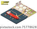 Vector isometric LNG carrier ship bunkering in LNG terminal 75778628