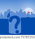 businessman with his suitcase walking across question mark to red flag in blue gradient shade background illustration vector. Problem solution business concept. 75787250