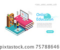 Online training, workshops and courses visualization flat 3d web isometric concept vector landing page template. Online Education with cpmputer. Vector Illustration. 75788646